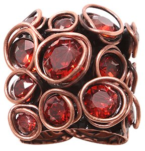 ring Sparkle Twist red/orange antique copper