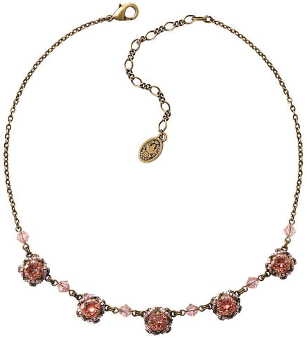 necklace Byzantine peach/lila antique brass