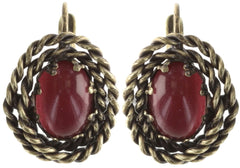 earring eurowire Twisted Lady red antique brass