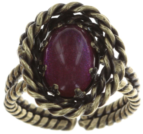 ring Twisted Lady red antique brass