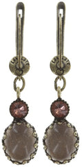 earring dangling Melody Drops brown/green antique brass