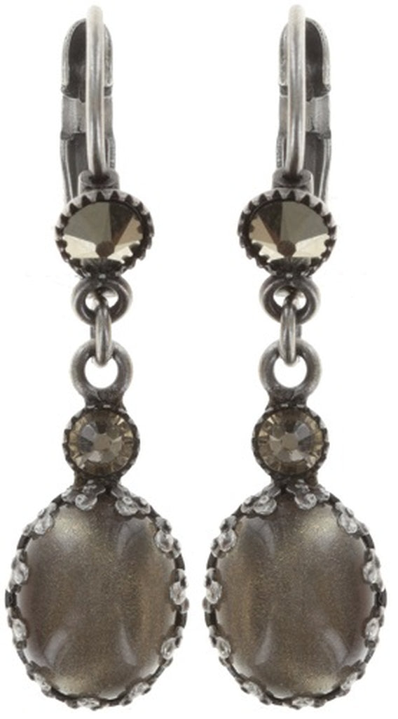 earring eurowire dangling Melody Drops white/grey antique silver