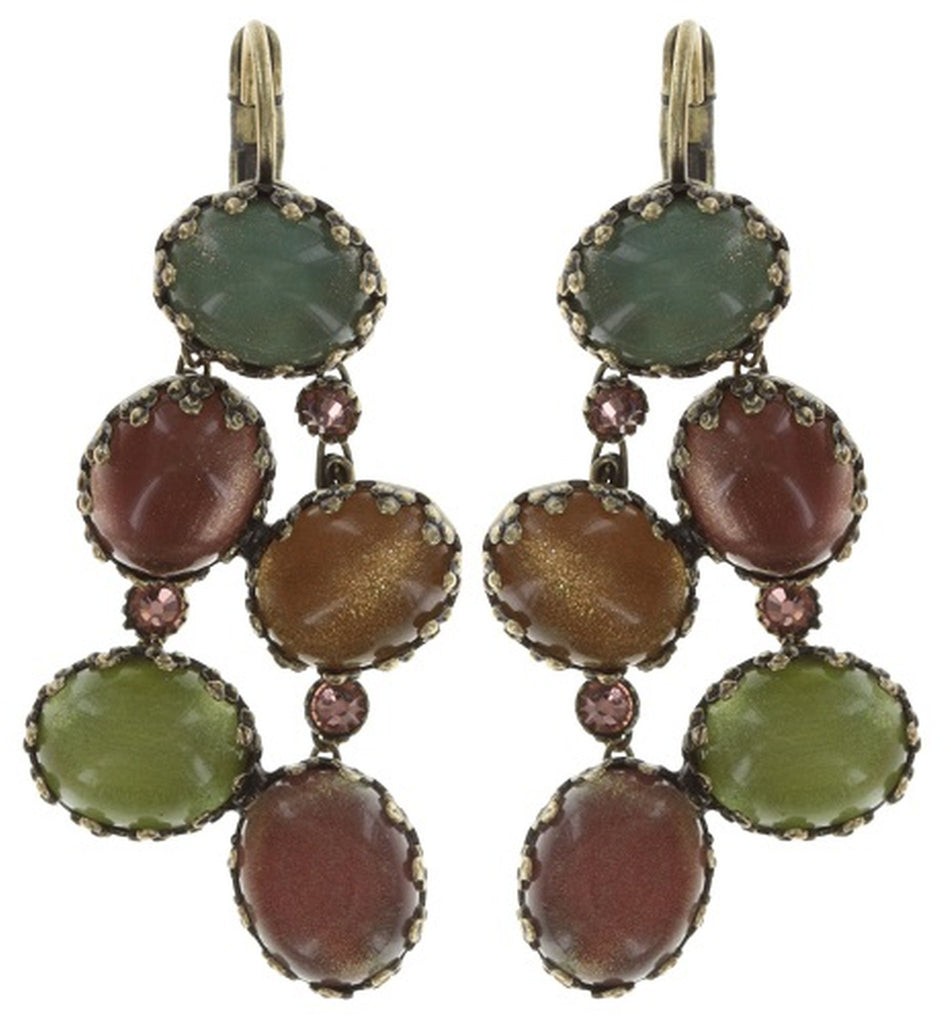 earring eurowire dangling Melody Drops brown/green antique brass