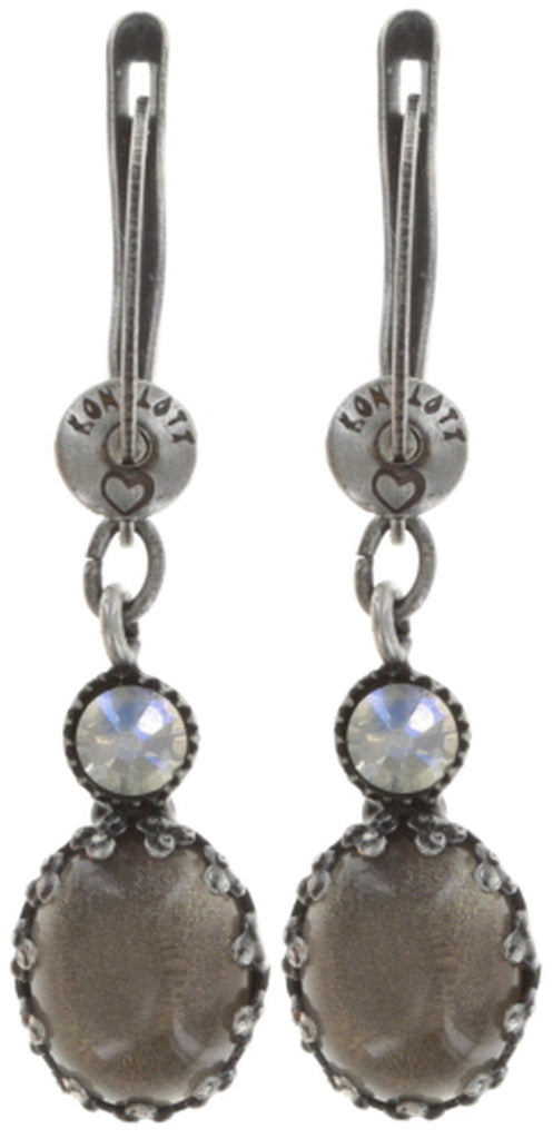 earring dangling Melody Drops white/grey antique silver