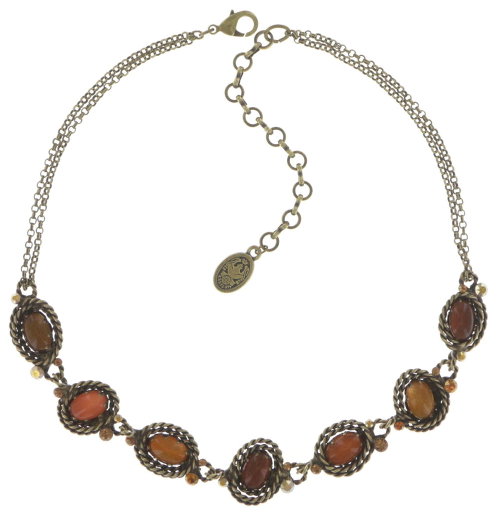 necklace Twisted Lady orange antique brass