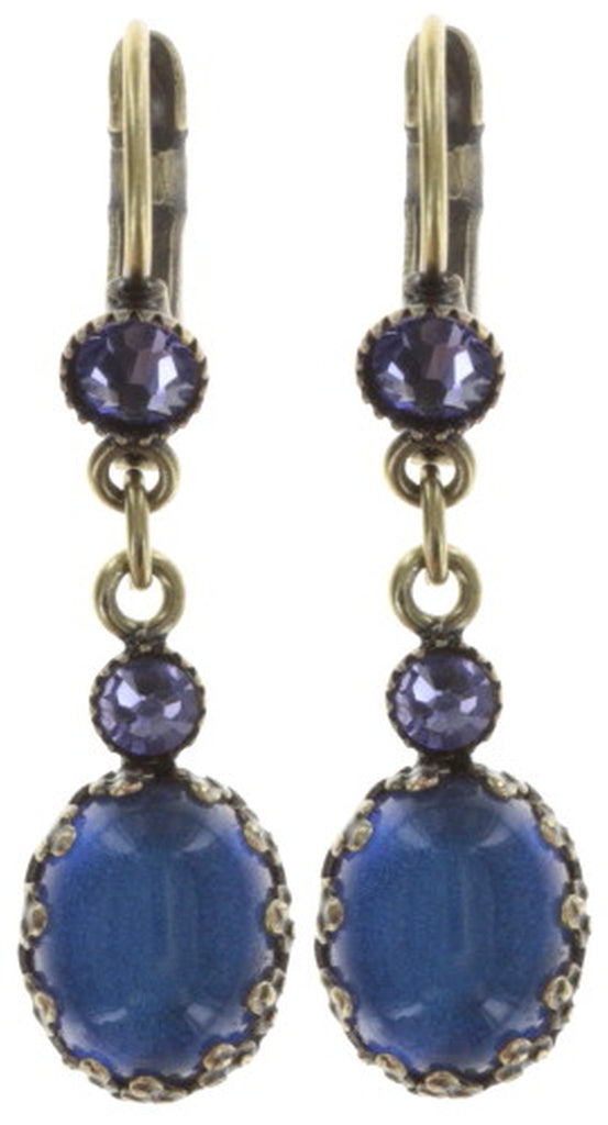 earring eurowire dangling Melody Drops blue/lila antique brass