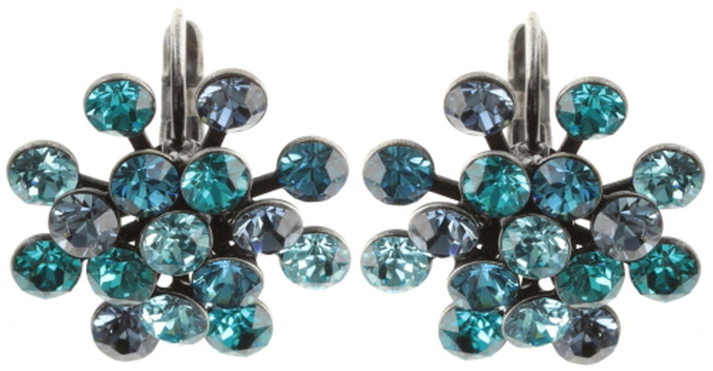 earring eurowire Magic Fireball blue/green antique silver Classic Size (21mm Ø)