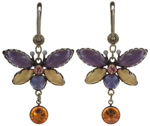earring dangling Fly Butterfly yellow antique brass small