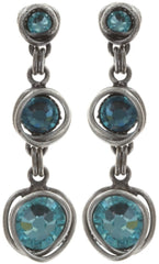 earring stud dangling Sparkle Twist blue antique silver