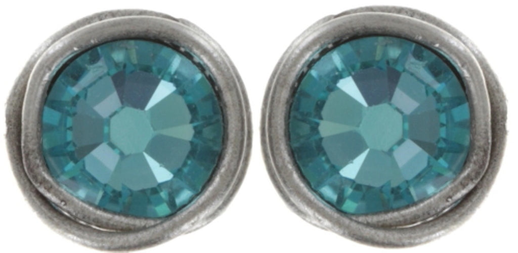 earring stud Sparkle Twist blue antique silver