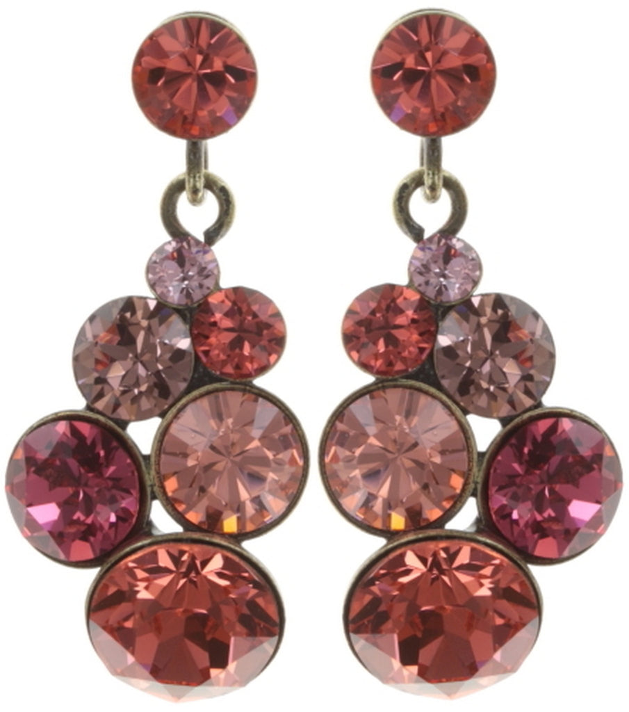 earring stud dangling Petit Glamour coralline antique brass