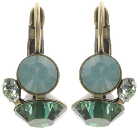 earring eurowire Disco Star green antique brass