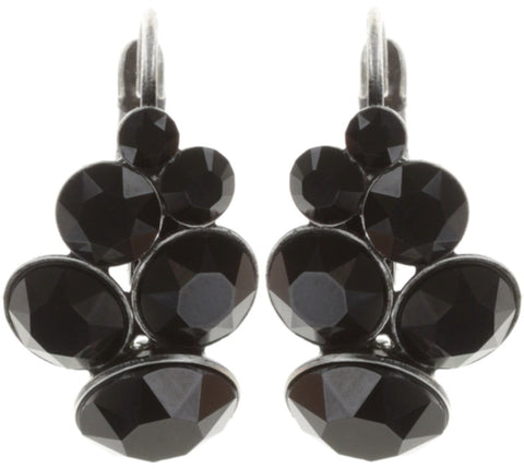 earring eurowire Petit Glamour pure black antique silver