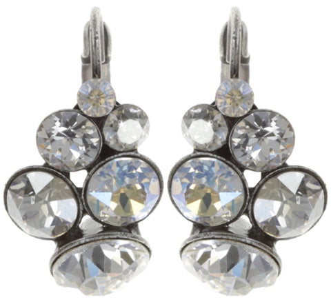 earring eurowire Petit Glamour white antique silver