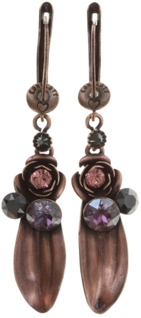 earring dangling In Honor of the Rose red antique copper