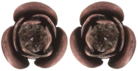earring stud In Honor of the Rose red antique copper