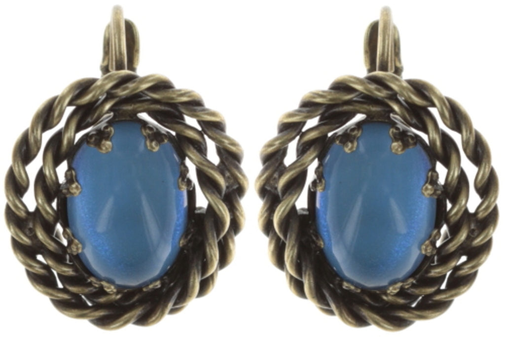 earring eurowire Twisted Lady blue antique brass