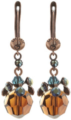 earring dangling La Maitresse blue/brown antique copper
