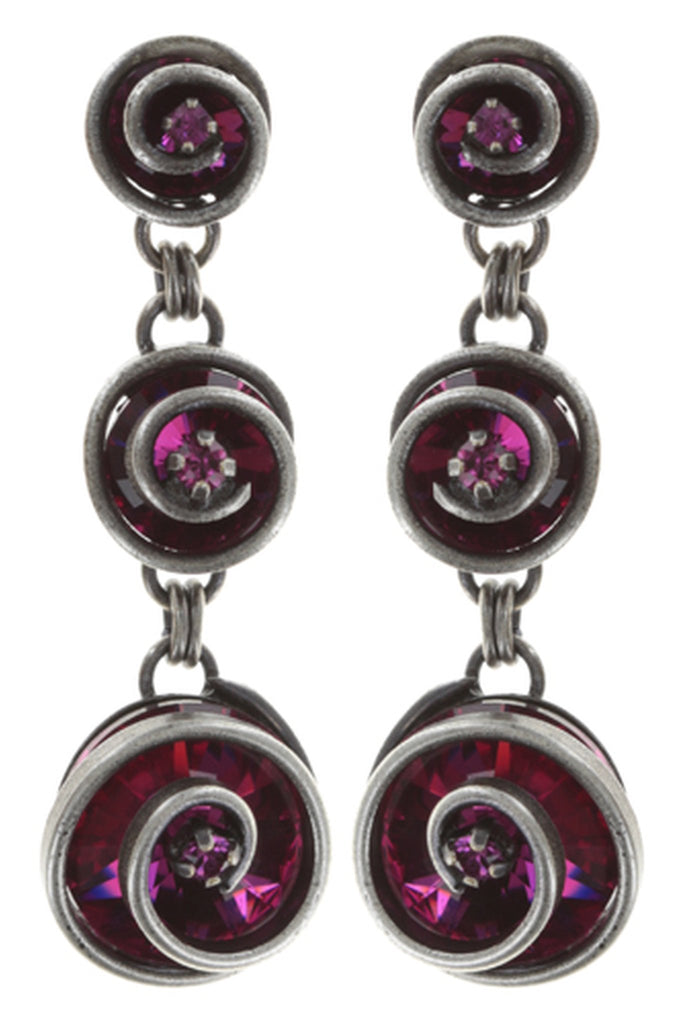 earring stud dangling Classic Twist dark rose antique silver