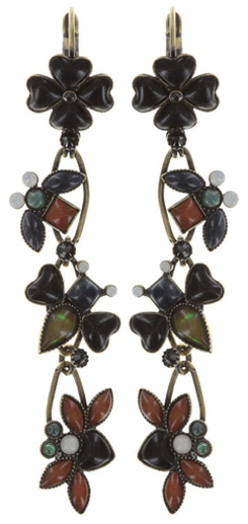 earring eurowire dangling Bug Me Now black/brown antique brass