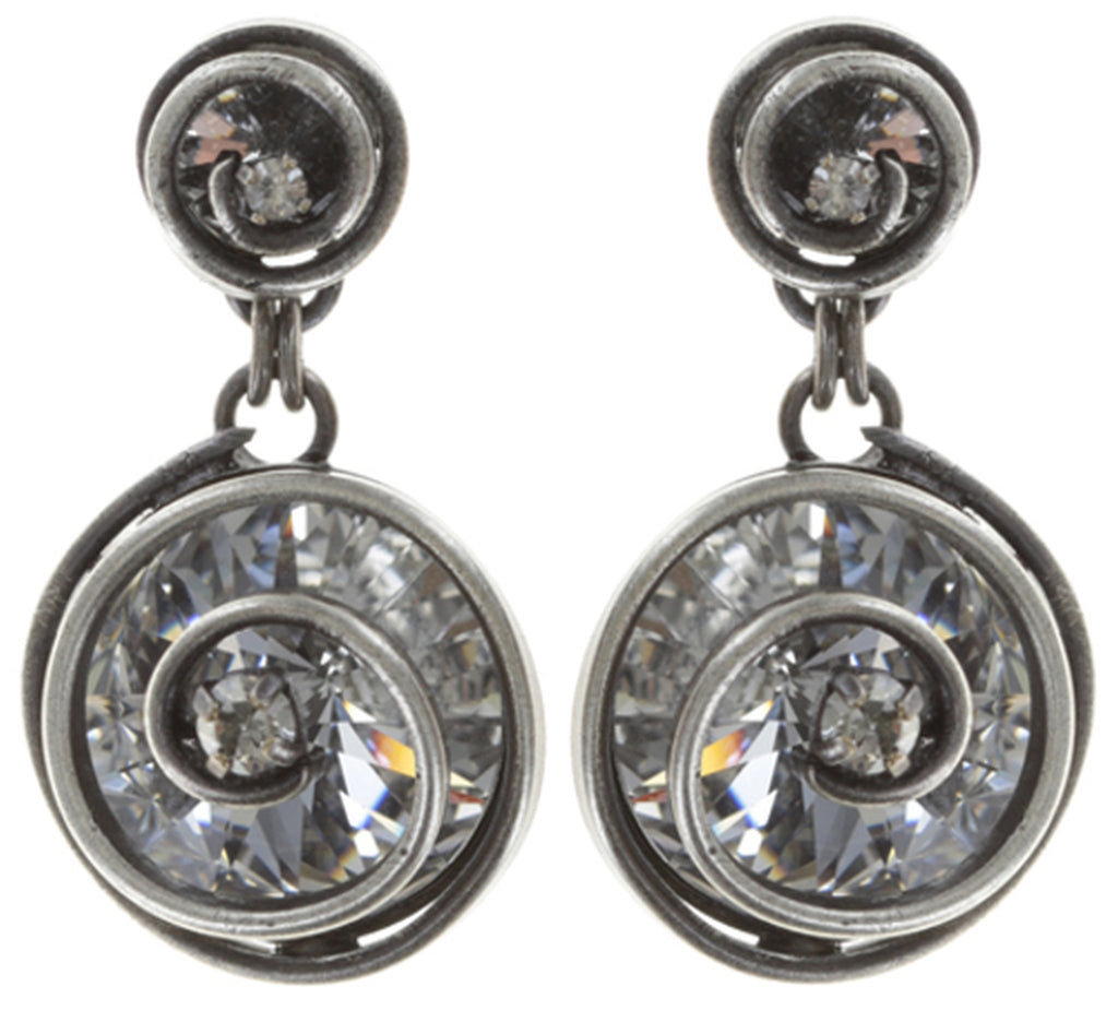 earring stud dangling Classic Twist white antique silver 14mm