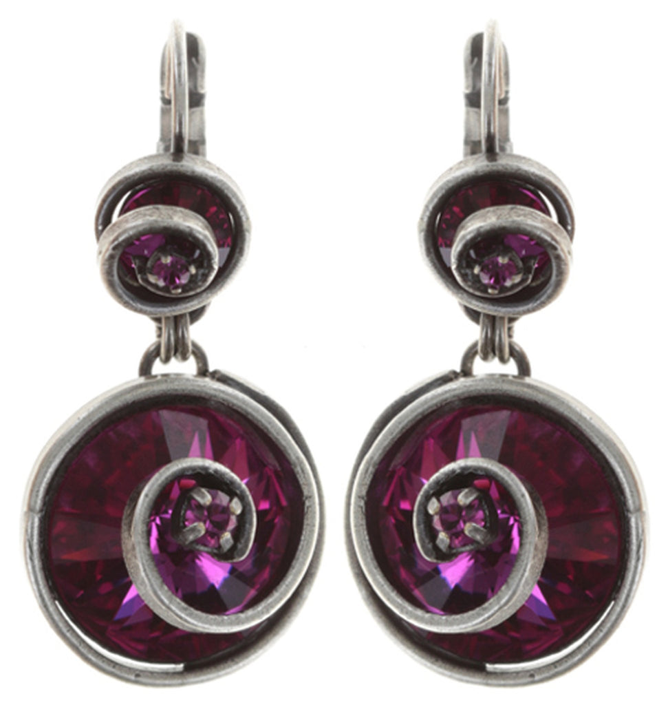 earring eurowire dangling Classic Twist dark rose antique silver