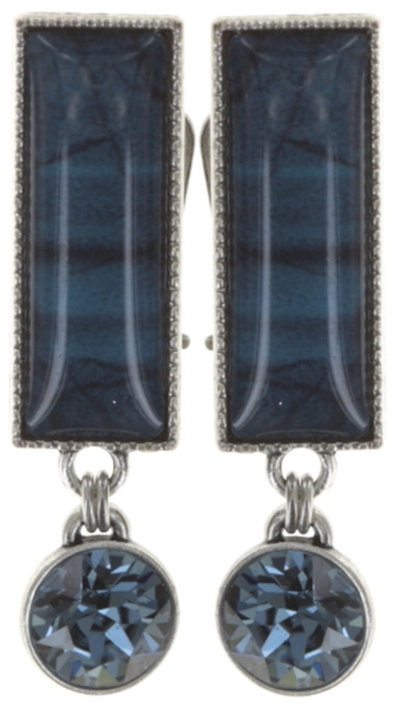 earring clip dangling Float to the Rhythm blue antique silver