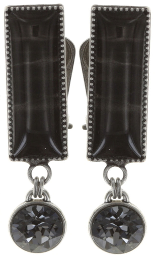 earring clip dangling Float to the Rhythm black antique silver
