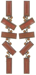 earring clip dangling Float to the Rhythm brown/orange antique brass