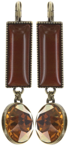 earring eurowire dangling Float to the Rhythm brown/orange antique brass