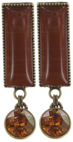 earring stud dangling Float to the Rhythm brown/orange antique brass