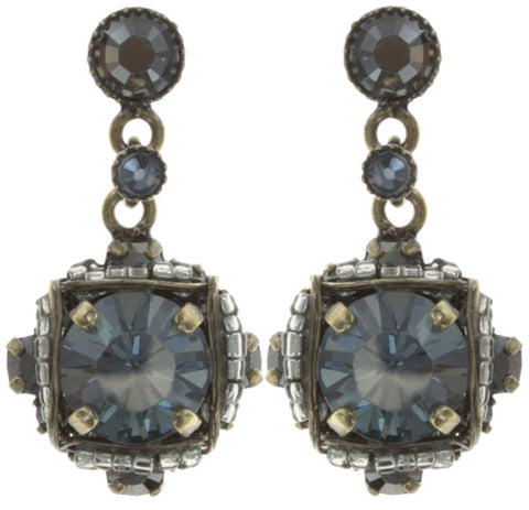 earring stud dangling Byzantine grey antique brass