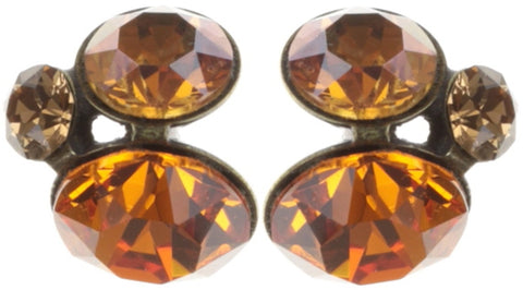 earring stud Disco Star orange antique brass