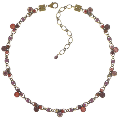 necklace Disco Star brown/red/lila antique brass