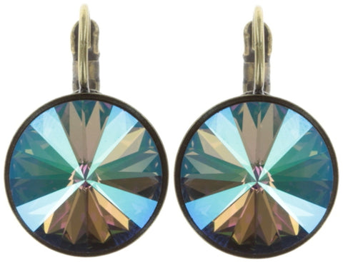 earring eurowire Rivoli lila antique brass 14mm