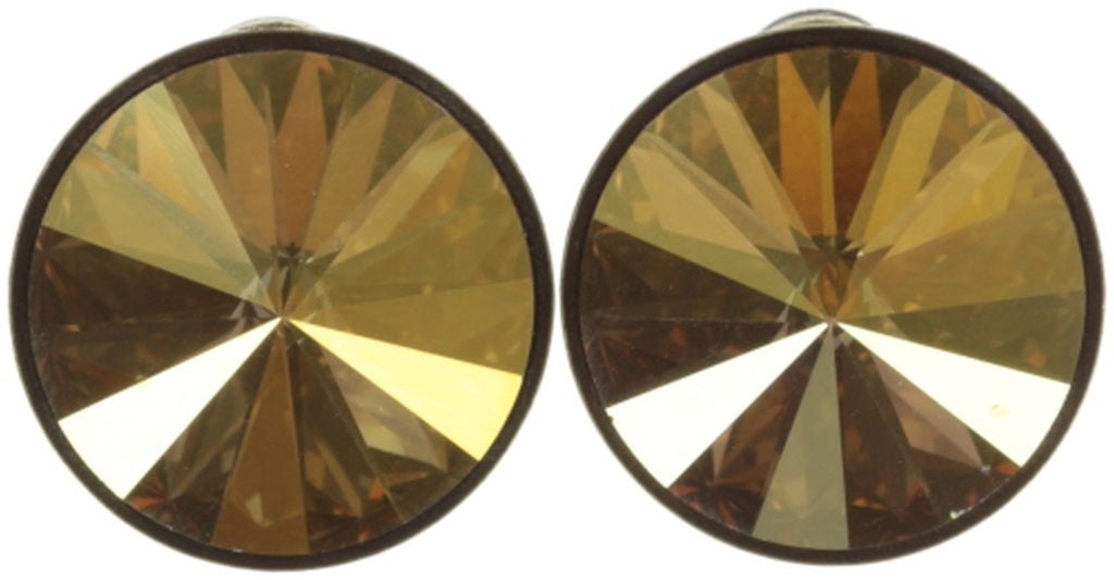 earring stud Rivoli yellow antique brass 14mm