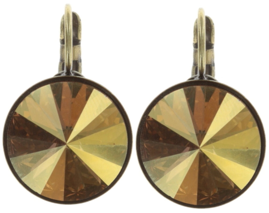 earring eurowire Rivoli yellow antique brass 14mm