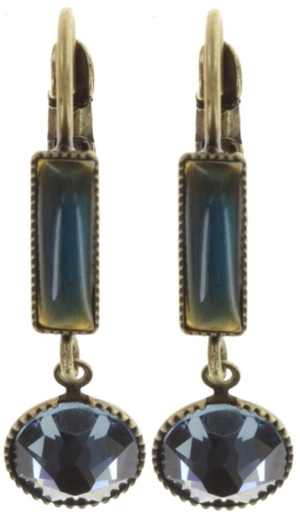 earring eurowire dangling Small Tones Beating blue/green antique brass