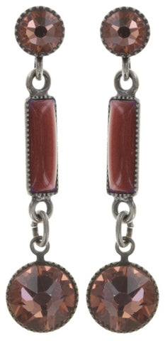 earring stud dangling Small Tones Beating red antique silver