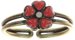 ring Mandala red antique brass