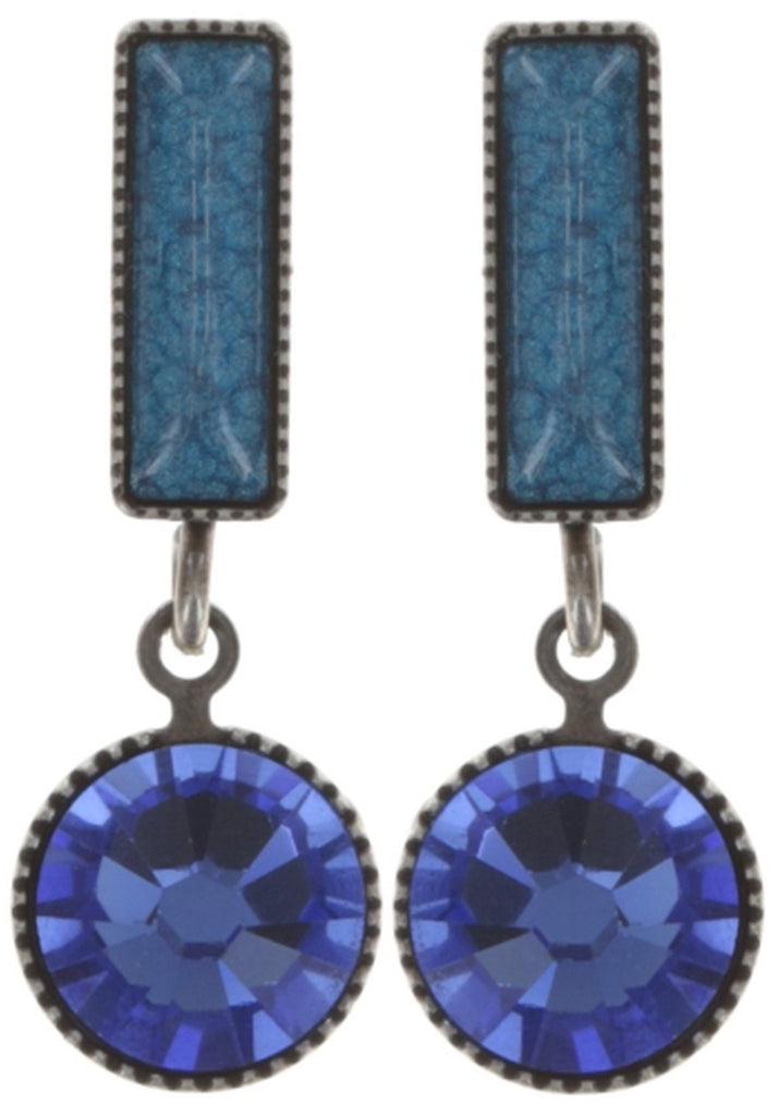 earring stud dangling Small Tones Beating dark blue antique silver