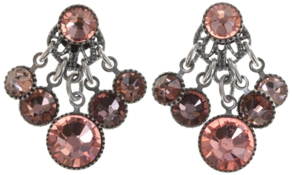earring stud dangling Waterfalls beige/pink Light antique silver