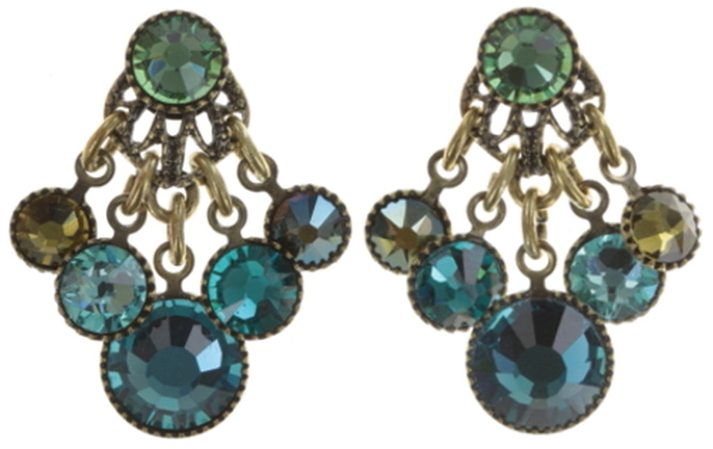 earring stud dangling Waterfalls blue/green Light antique brass