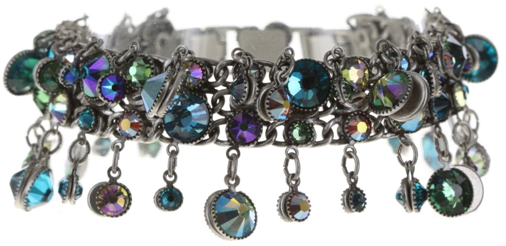 bracelet Waterfalls green/lila Light antique silver
