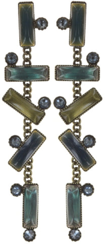 earring stud dangling Small Tones Beating blue/green antique brass