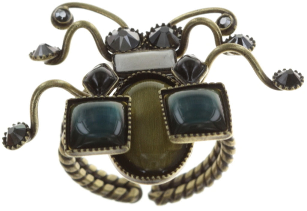 ring Bug Me Now black/brown antique brass