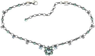 necklace Carré green/white antique silver