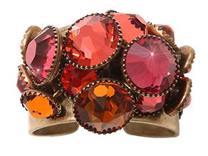ring Waterfalls coralline/orange Light antique brass
