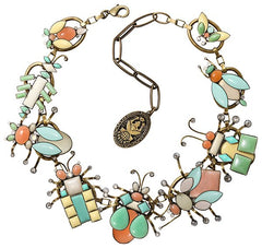 necklace collier Bug Me Now pastel multi antique brass
