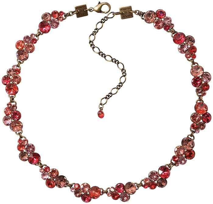necklace collier Petit Glamour coralline antique brass